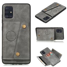 For Samsung A51 Cellphone Cover Back Case Double Buckle Pu Leather With Card Slots Shell Gray
