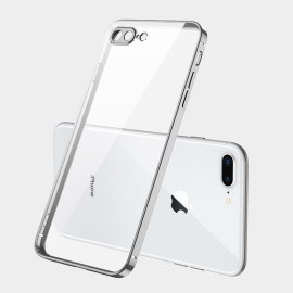 Foriphone 7/8/Se 2020/7 Plus/8 Plus/6/6S/6 Plus/6S Plus Mobile Phone Shell Square Transparent Electroplating Tpu Cover Cell Phone Case Silver