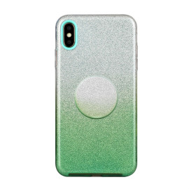 For Iphone X/Xs/Xr/Xs Max/11/11 Pro Max Phone Case Gradient Color Glitter Powder Phone Cover With Airbag Bracket Green