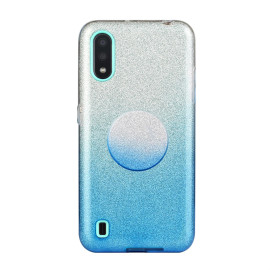 For Samsung A10/A50/A30S/A70/A20S Phone Case Gradient Color Glitter Powder Phone Cover With Airbag Bracket Blue