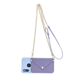 For Huawei P30/P30 Lite/P30 Pro Mobile Phone Cover With Pu Leather Card Holder + Hand Rope + Straddle Rope Purple