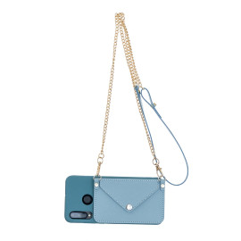 For Huawei P30/P30 Lite/P30 Pro Mobile Phone Cover With Pu Leather Card Holder + Hand Rope + Straddle Rope Blue