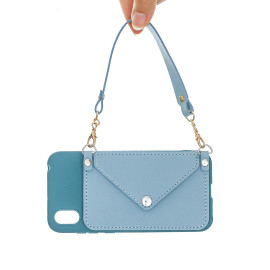 For Huawei Y5 2018/2019/Y6 2019/Y7 2019/Psmart Z/Y9 2019 Mobile Phone Cover With Pu Card Holder + Hand Rope + Straddle Rope Blue