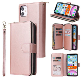 For Iphone X/Xs/Xs Max/11/11Pro Pu Leather Mobile Phone Cover Zipper Card Bag + Wrist Strap Rose Gold