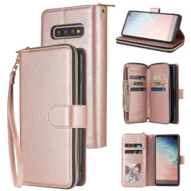 For Samsung S10/S20/S10E/ S10 Plus Pu Leather Mobile Phone Cover Zipper Card Bag + Wrist Strap Rose Gold