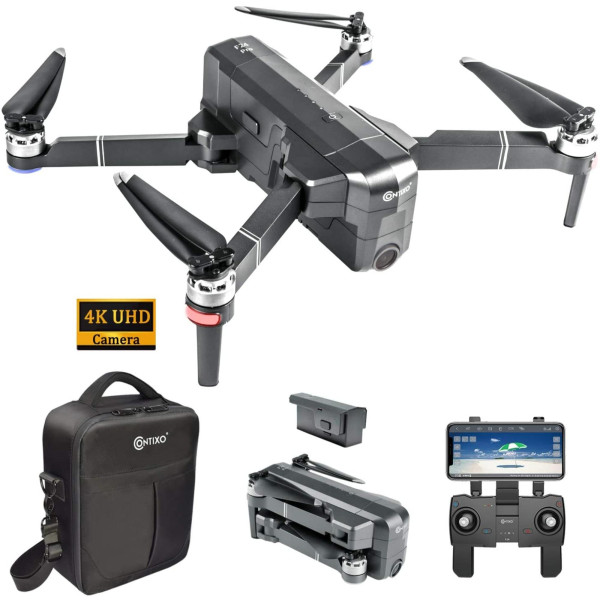 Contixo F24 Pro 4K Quadcopter Uhd Fpv Gps Foldable Drones - 30 Minutes Longest Flight Time - Brushless Drone With Camera For Adults - Compatible With Vr Headset - Carrying Case