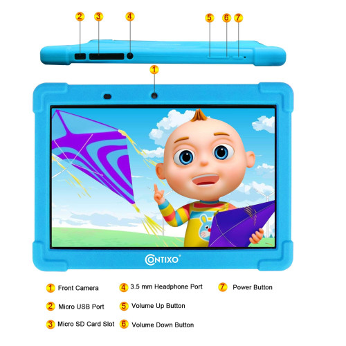 Contixo 10 Inch Kids Learning Tablet With Parental Control 16Gb Android 9.0 For Children Infant Toddlers At Home School - Pre-Loaded Educational Apps/Games - Child-Proof Case Great Gift For Kids (Blue)