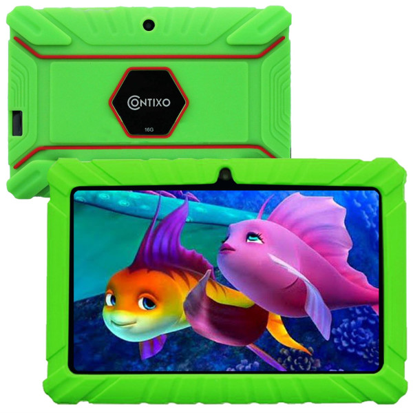 Contixo 7 Inch Kids Learning Android Tablet Parental Control 16Gb For Home School Education - Google Certified Pre-Loaded Children Educational Apps - Child Proof Case - Great Gift For Toddlers (Green)