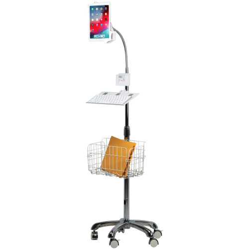 Heavy-Duty Gooseneck Floor Stand With Vesa Plate And Storage Basket For 7-14 Inch Tablet