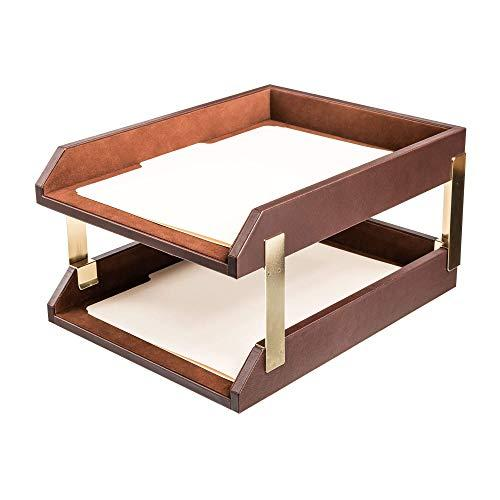 Dacasso Leather Double Letter Trays, Chocolate Brown (A3420)