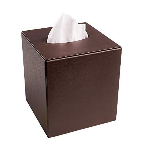 Dacasso Chocolate Brown Leather Tissue Box Cover (A3437)