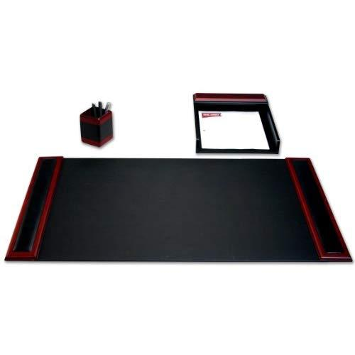Dacasso Rosewood And Leather Desk Set, 3-Piece