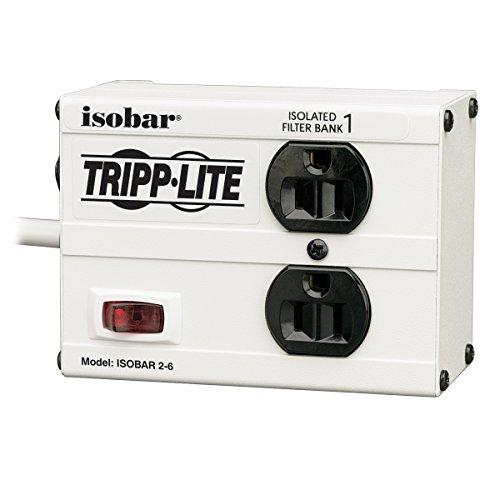 Tripp Lite Isobar 2 Outlet Surge Protector Power Strip, 6Ft Cord, Right-Angle Plug, Metal, Lifetime Limited Warranty & Dollar 25,000 Insurance (Isobar2-6)