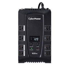 Cyberpower Cp825Lcd Intelligent Lcd Ups System, 825Va/450W, 8 Outlets, Compact,Black