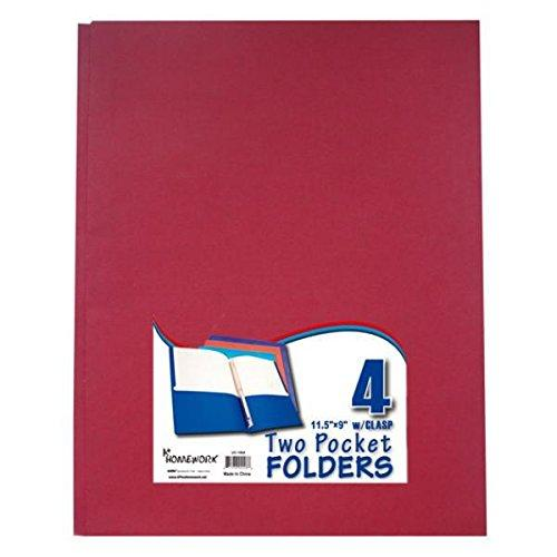 Bulk Buys Two Pocket Folders With 3 Fasteners - 4 Pack-Asst. - Case Of 48
