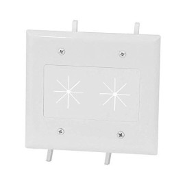 Datacomm Electronics 45-0015-Wh 2-Gang Cable Plate With Flexible Opening - White