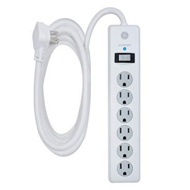Ge 6 Outlet Surge Protector, 10 Ft Extension Cord, Power Strip, 800 Joules, Flat Plug, Twist-To-Close Safety Covers, White, 14092