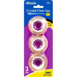 """Bazic 3/4"""" X 1000"""" Crystal Clear Tape Refill Office Supplies (3/Pack)"""