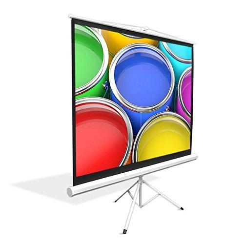"""Upgraded Pyle 84"""" Projector Screen With Floor Standing Portable Fold-Out Roll-Up Tripod Manual, Mobile Movie Screen, Home Theater Cinema Wedding Party Office Presentation, Quick Assembly (Prjtp84)"""