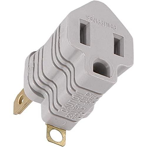 Ge Polarized Grounding Outlet Adapter, Turn 2 Into 3-Prong, 58900, Gray