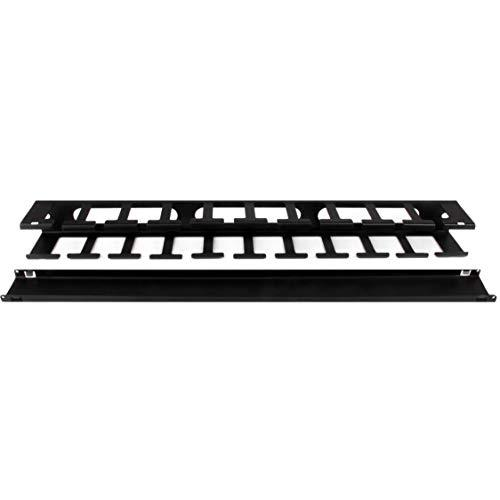 Startech.Com 1U Horizontal Finger Duct Rack Cable Management Panel With Cover - Server Rack Cable Duct - Rack Cable Organizer / Manager (Cmduct1Ux),Black
