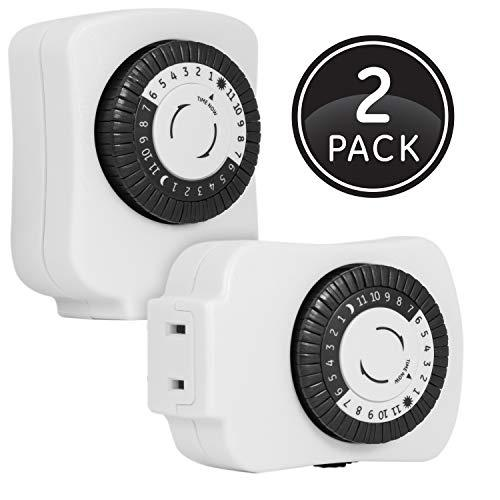 Ge 24-Hour Indoor Basic Mechanical Timer, 2-Pack, Plug-In, Daily On/Off Cycle, 30 Minute Intervals, For Lamps, Seasonal Appliances, And Portable Fans, 15417, Polarized 1-Outlet | Black/White