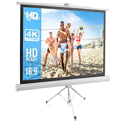 Portable Projector Screen Tripod Stand - Mobile Projection Screen , Lightweight Carry & Durable Easy Pull Assemble System For Schools Meeting Conference Indoor Outdoor Use, 50 Inch By Pyle (Prjtp52), White