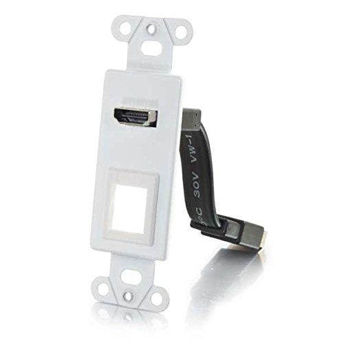 C2G/Cables To Go 39711 Hdmi Pass Through With One Keystone, Insert Plate For Decorative Wall Plate - White