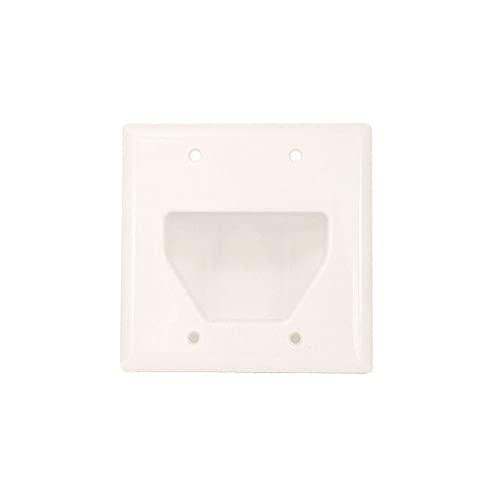 Monoprice 104001 Recessed Low Voltage Cable Wall Plate, 2-Gang, White