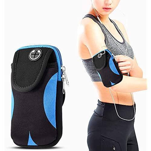 Universal Convenient Pouch With Adjustable Sports Armband -  Black & Blue-Arip7L-Cvn-Bkbl