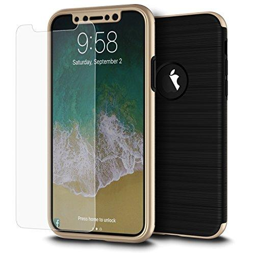 For Iphone Xs / X The Cap Full Cover Hybrid Silk Tpu W/ Pc Frame And Tempered Glass Screen Protector - Gold