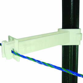 Field Guardian T Post - 5'' Reverse Extension Insulator - Polywire - White- 10/Pk