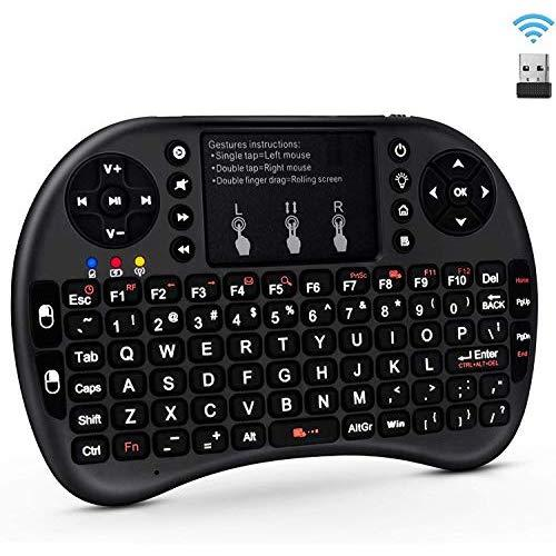 Un-Tech 2.4GHz Mini Wireless Keyboard with Touchpad,QWERTY Keyboard,LED Backlit,Portable Keyboard Wireless for laptop/PC/Tablet/Windows/Mac/TV/Xbox/PS3/Raspberry Pi .(i8+ Black)