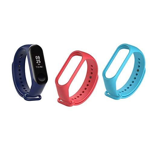 Un-Tech Fitness M3 Wristband Heart Rate Band Activity Tracker for Android iOS (Blue) + Band Belts (Red + SkyBlue)