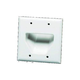Datacomm Electronics 45-0002-Br 2-Gang Recessed Low Voltage Cable Plate - Brown