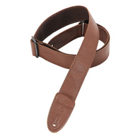 """2"""" Wide Brown Garment Leather Guitar Strap / Brown"""