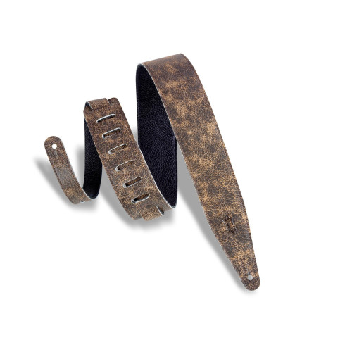 """2 1/2"""" Wide Brown Garment Leather Guitar Strap / Brown"""