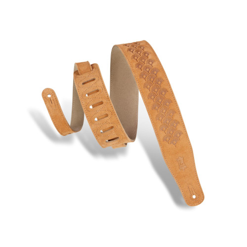 """2 1/2"""" Wide Honey Suede Leather Guitar Straps / Honey"""