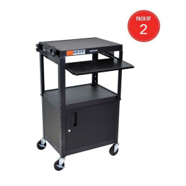 Luxor Mobile Adjustable Multipurpose Steel Storage Av Cart With Cabinet, Pullout Keyboard Tray - Black (Pack Of 2)