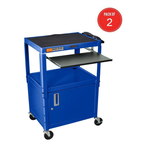Luxor Adjustable Height Metal Multipurpose Steel Av Utility Cart With Pullout Keyboard Tray And Cabinet - Blue (Pack Of 2)
