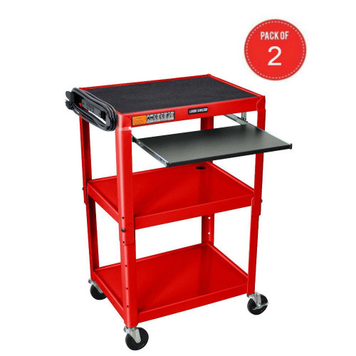 Luxor Rolling Multipurpose Height Adjustable Steel Av Utility Cart With Pullout Keyboard Tray Shelf Red (Pack Of 2)