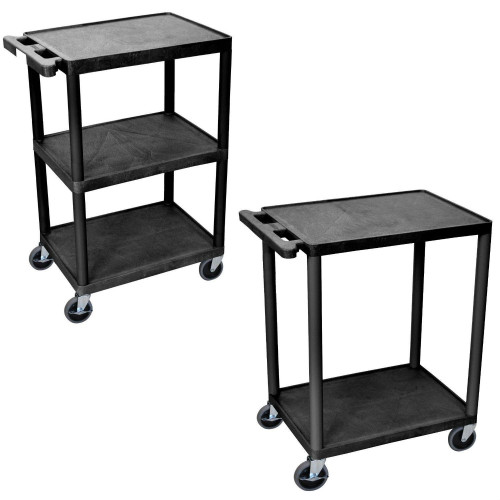 Luxor He34-B 3 Shelves Multipurpose Storage Structural Foam Plastic Service Utility Cart - Black (Pack Of 2)