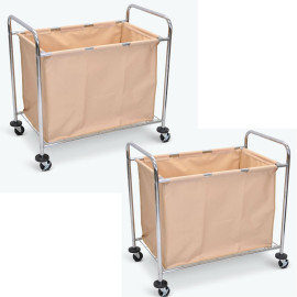 Luxor Laundry Cart With Chrome Plated Steel Frame And Heavy Duty Canvas Bag (Pack Of 2)