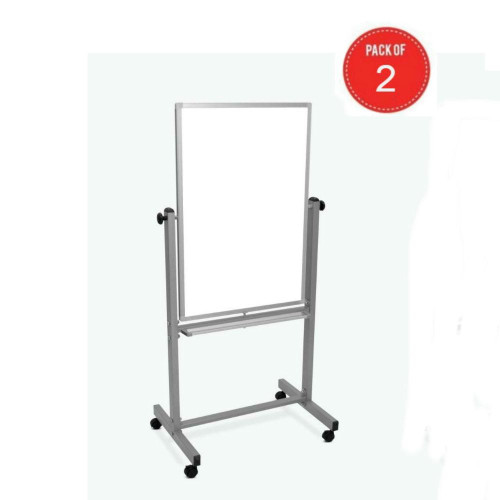 """Luxor Double Sided Magnetic Mobile Whiteboard 24"""" X 36"""" (Pack Of 2)"""