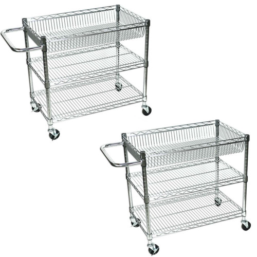 "Luxor Licwt2918 Large Wire 3 Tub Shelves Rolling Cart - 30""W X 18""D X 30""H (Pack Of 2)"