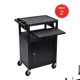 Luxor Lp34Cle-B A/V Presentation Cart With 3 Shelves, Cabinet, Front Pullout (Pack Of 2)
