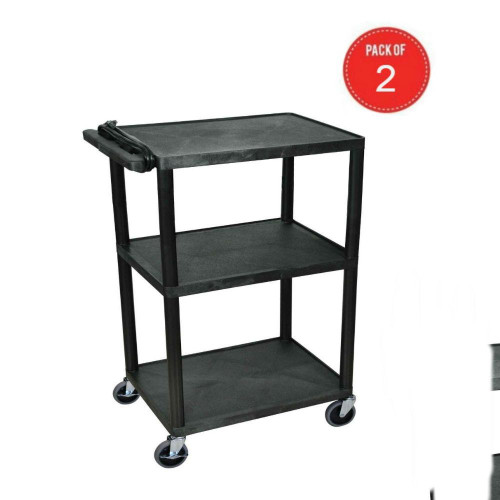 "Luxor Mobile 42"" Multipurpose Rolling 3 Shelf Presentation Station Av Electric Utility Cart With 4 Casters, Black (Pack Of 2)"