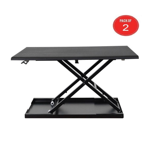 "Luxor Level Up 32"" Pneumatic Height Adjustable Desktop Desk, Black (Pack Of 2)"