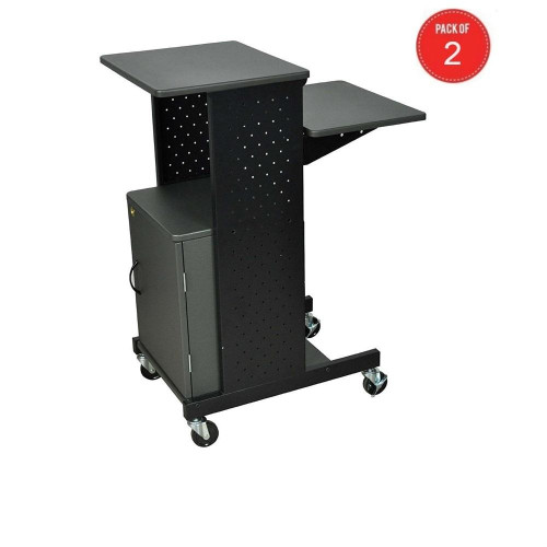 Luxor Ps4000C 4 Shelf Mobile Presentation Station With Cabinet, Gray (Pack Of 2)