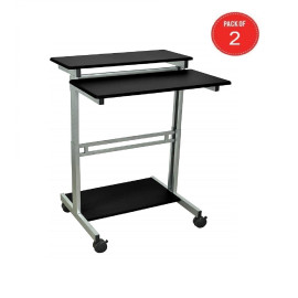 Luxor Office Mobile Stand Up Workstation - Black (Pack Of 2)
